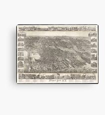 Vintage Map of Jersey City NJ (1883) Canvas Print