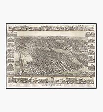 Vintage Map of Jersey City NJ (1883) Photographic Print