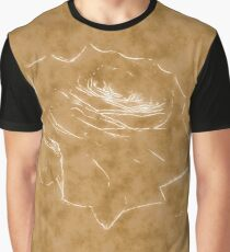 Pink Roses in Anzures 3 Outlined Brown Graphic T-Shirt