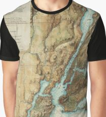 Camiseta gráfica Vintage Map of New York City Harbor (1864)