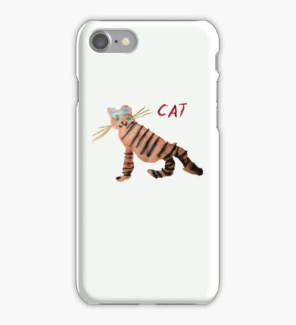 Cat on White iPhone Case/Skin