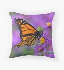 Monarch and Asters Throw Pillow