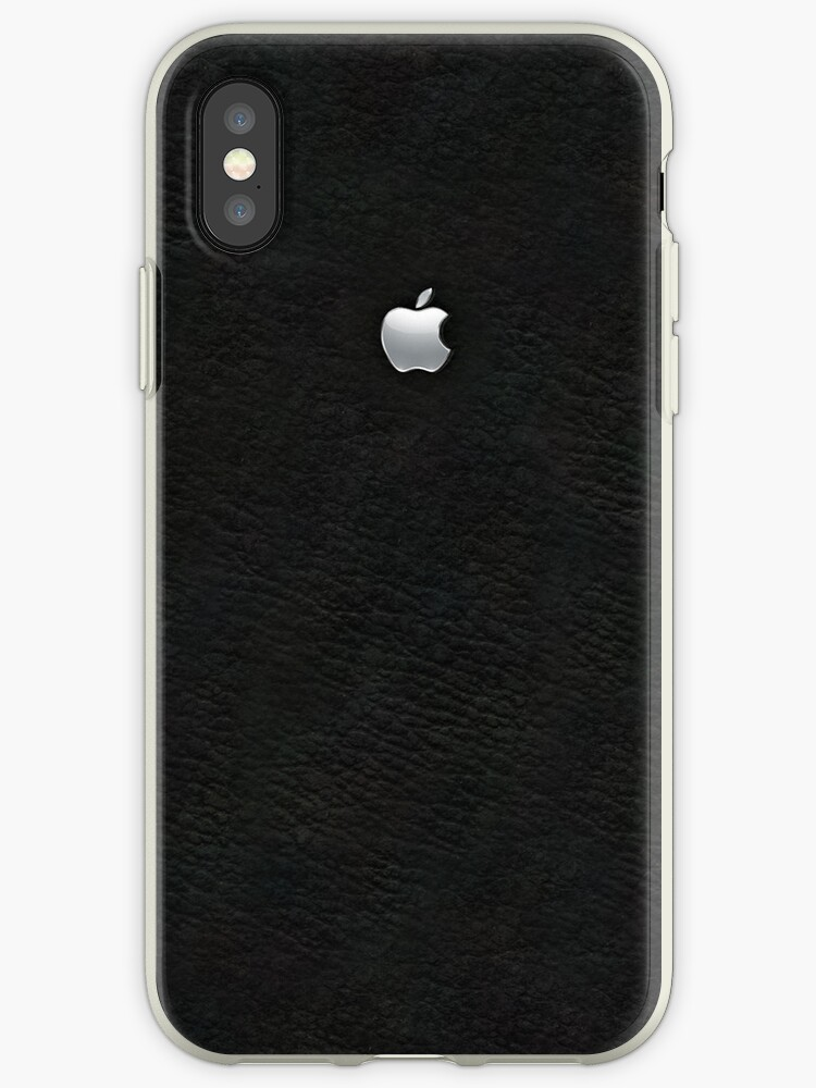 Apple: Embossed Silver on Black Leather by goodedesign