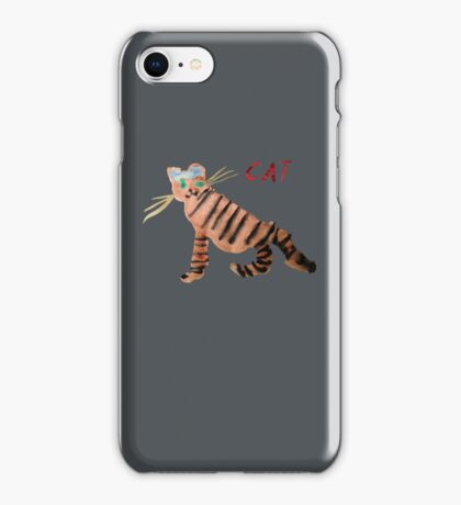 Cat on Gray iPhone Case/Skin