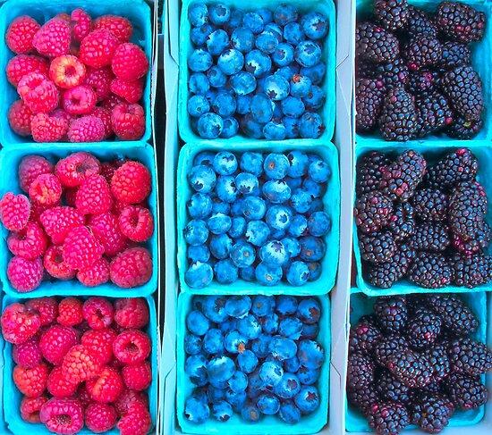 Farm Fresh Berries - Raspberries Blueberries Blackberies by Ram Vasudev