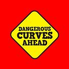 BEWARE yellow road dangerous curves ahead warning sign (roughly rounded type) by jazzydevil