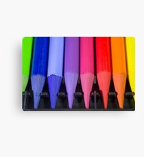 Woodless Colored Pencil Heads Macro Closeup Canvas Print