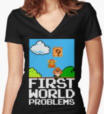 First World Problems (White) Women's Fitted V-Neck T-Shirt