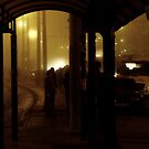 bus stop by night by Nikolay Semyonov