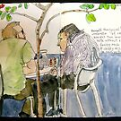 Two Men in Conversation Not Looking at Each Other by Evelyn Bach