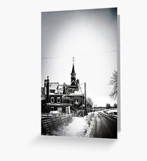 A battered church on a winter's road Greeting Card