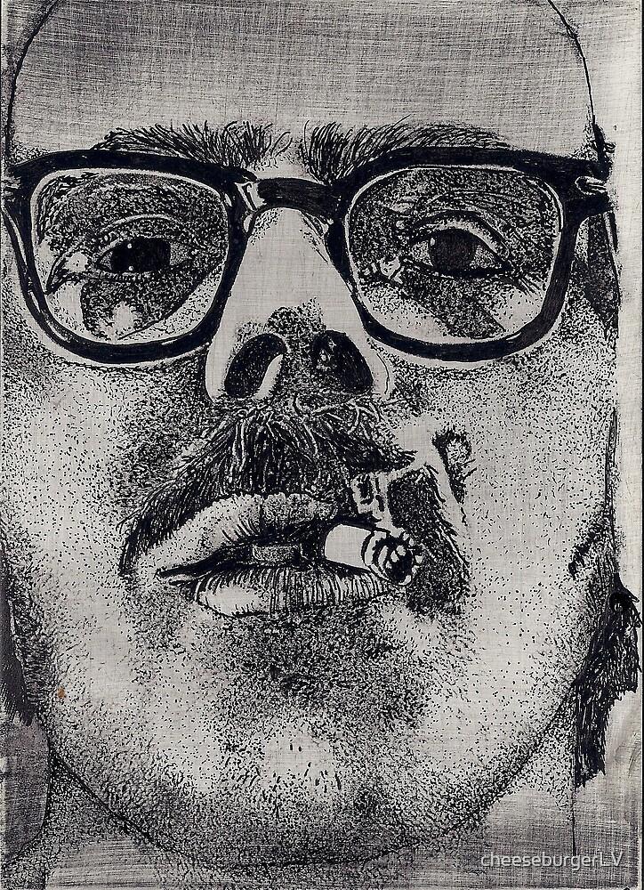 chuck close up close (ink)  by cheeseburgerLV