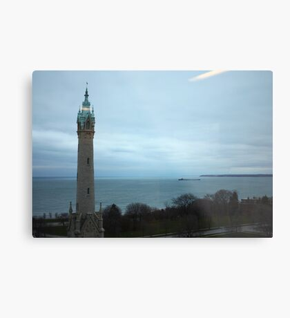 North Avenue Water Tower with Halo Metal Print