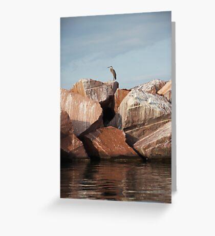 Blue Heron on Red Rock Greeting Card