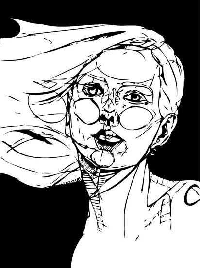 Psychedelic Self B&W- By Amit Grubstein by AmitArt