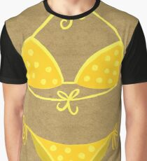 Yellow Polka Dot Bikini on Kraft Graphic T-Shirt