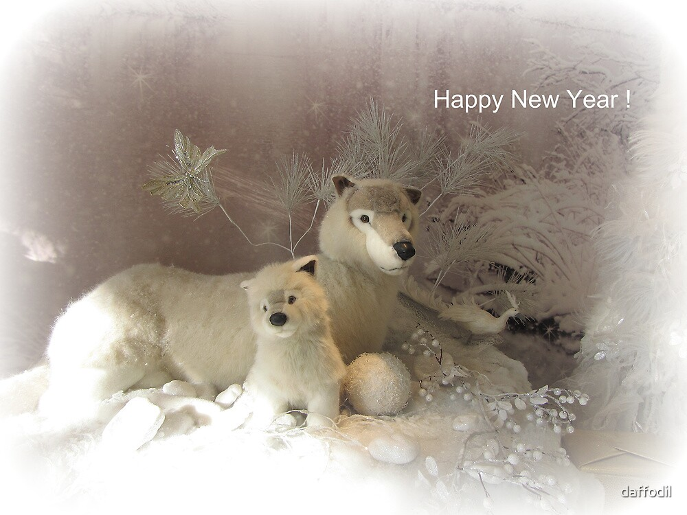 She wolf and baby  - New Year card by daffodil