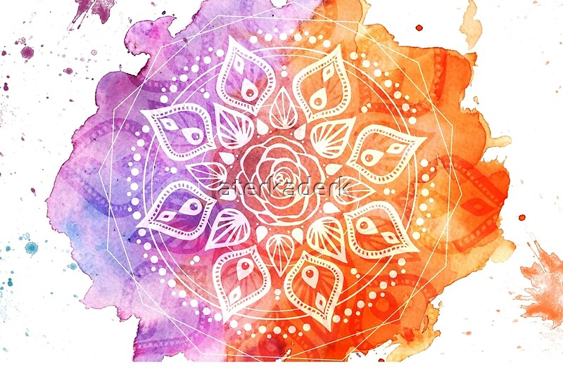 "Mandala Wall Decor ""Sunset Watercolor Mandala"" Laptop Skins by aterkaderk ..."