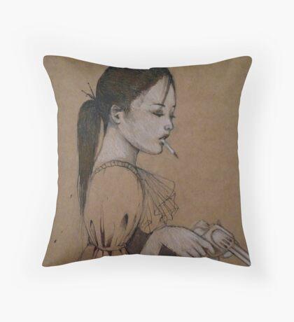 Smoking Girl With A Gun Throw Pillow