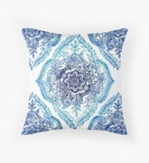 Indian Ink - in blues Throw Pillow
