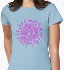 Heart Centred Mandala - pink print Womens Fitted T-Shirt
