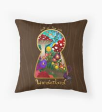 Travel to Wonderland Throw Pillow