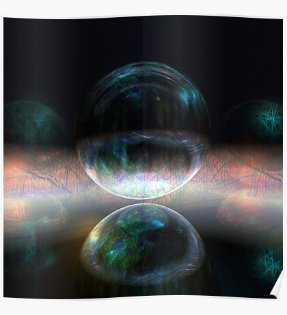 Iridescent bubbles in the darkness of airless caverns Poster