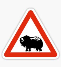 Caution Musk Oxen, Traffic Sign, Greenland Sticker