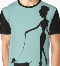 Flaunting The Pooch (teal) - Dachshund Sausage Dog Graphic T-Shirt