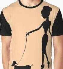 Flaunting The Pooch (peach) - Dachshund Sausage Dog Graphic T-Shirt