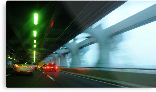 Night traffic motion lights inside of the Verizano Bridge of New York by Anton Oparin