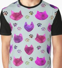 Watercolor Cat Heads - shades of pink & purple on pale blue  Graphic T-Shirt