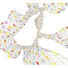 Geometric landscape multi colour rainbow 02 drawing  by BellaBark