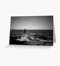 Fishing Off Newcastle Baths Greeting Card