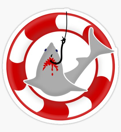 Shark on the hook VRS2 Sticker