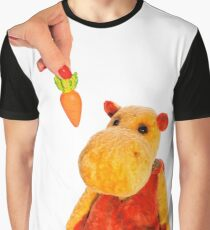 Isolated yellow hippo toy and hand with carrot Graphic T-Shirt