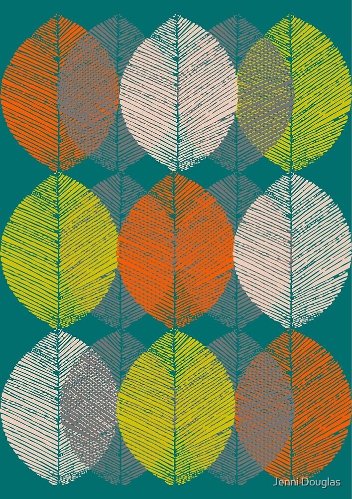 Autumn Leaves (Teal) by Jenni Douglas