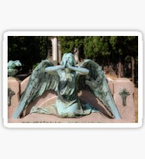 weeping angel at the Monumental Cemetery Genoa, Italy Sticker