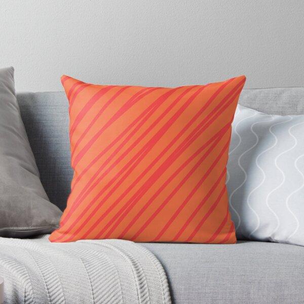 Red stripes on an orange background Throw Pillow