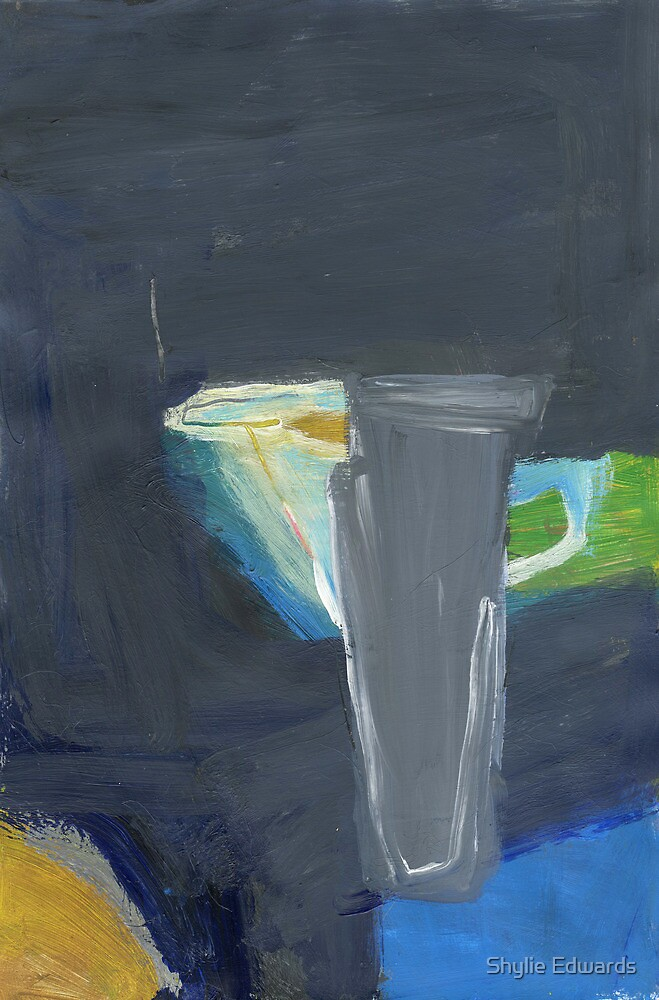 grey vase and blue jug by Shylie Edwards
