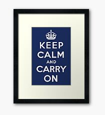 Keep Calm and Carry On (Navy Background) Framed Print