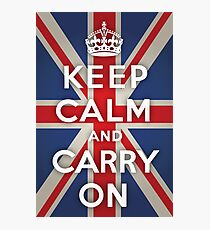 Keep Calm and Carry On (Union Jack Background) Photographic Print