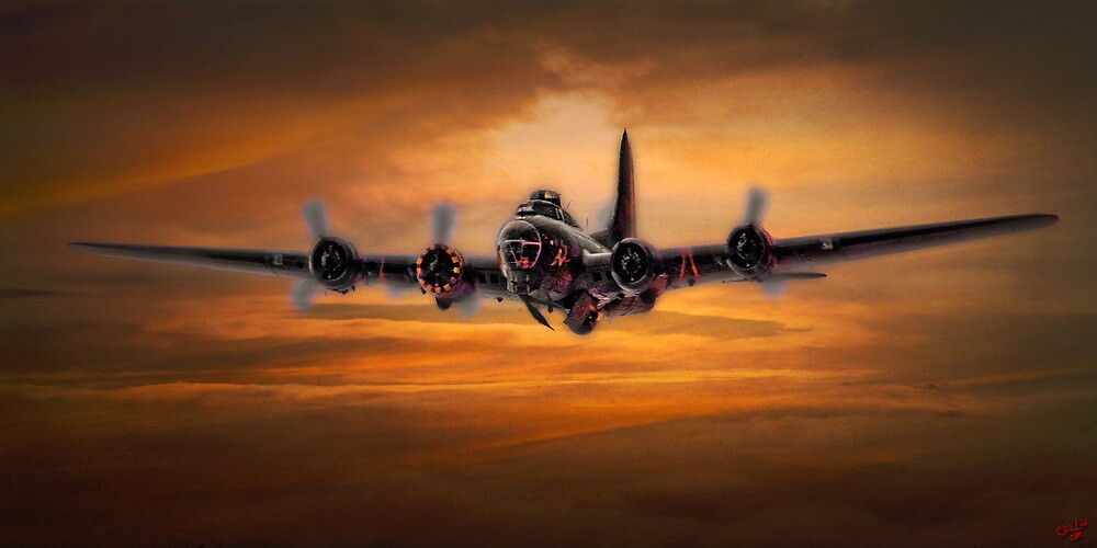 B17 Battle Scarred but Heading Home by Chris Lord