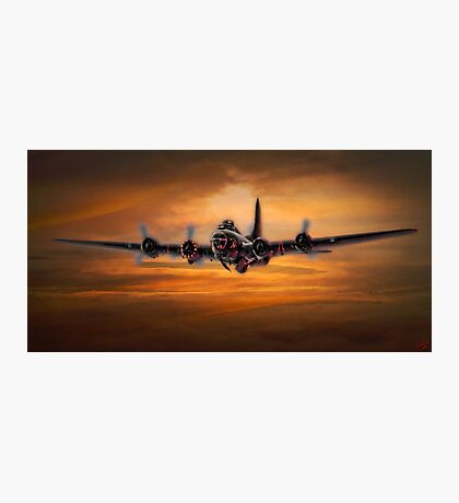 B17 Battle Scarred but Heading Home Photographic Print