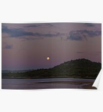 Moon Rising above Gellibrand River Lagoon Poster