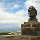 Statue of Dante and the Tuscan landscape by catiapancani