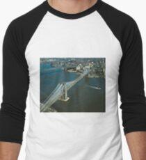 Camiseta ¾ bicolor para hombre Brooklyn Bridge Aerial Photograph