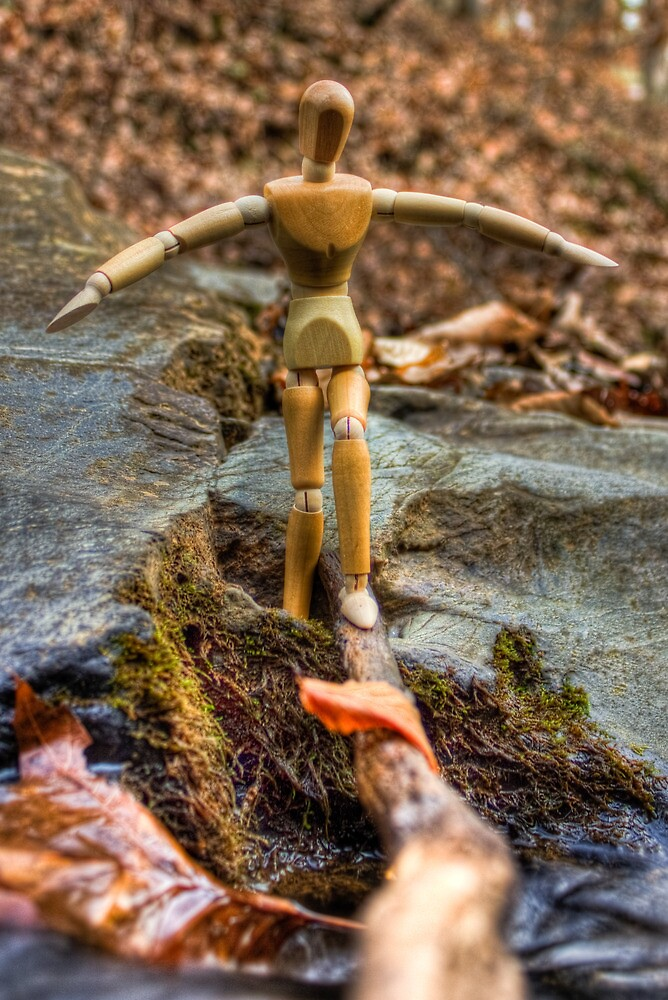 Wooden Man Crossing the River 02 by cadman101
