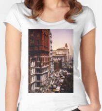 Camiseta entallada de cuello redondo Vintage Broadway NYC Photo-Print (1900)