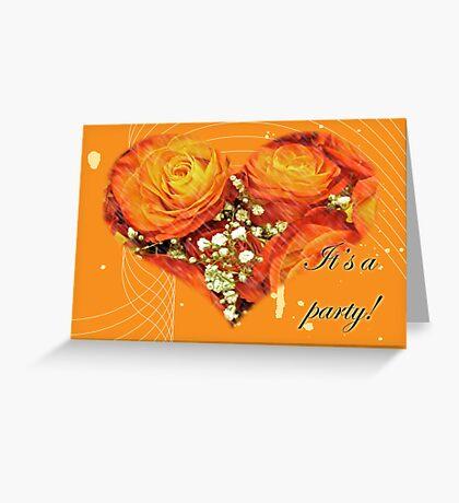 Party Invitation - Orange Roses Greeting Card